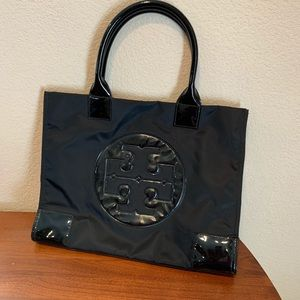Tory Burch nylon pattern leather large tote bag